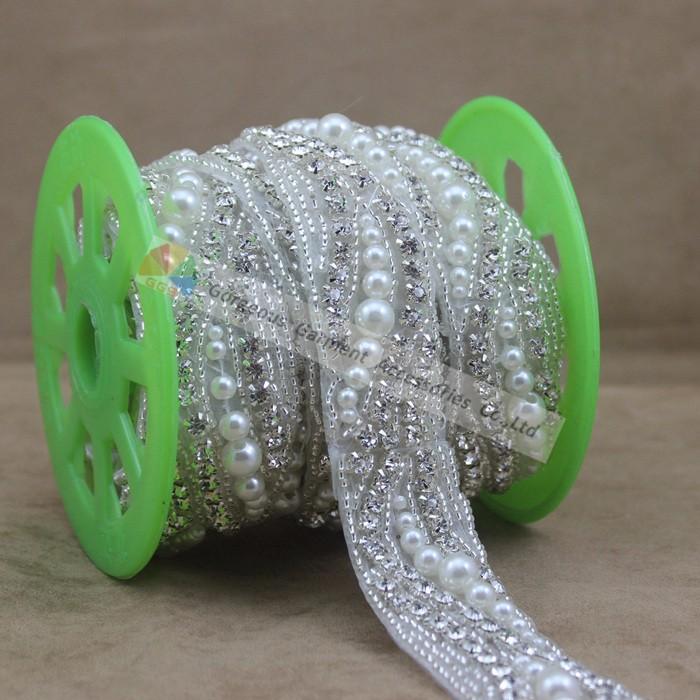 1 Yard Handmade Sew on Rhinestone Pearl Trimming Crystal Beaded ... fdc4b2957533