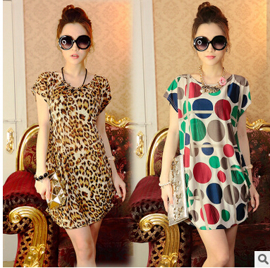 In 2016 han edition plus-size women's summer ice silk long loose women pregnant women dress dress with short sleeves