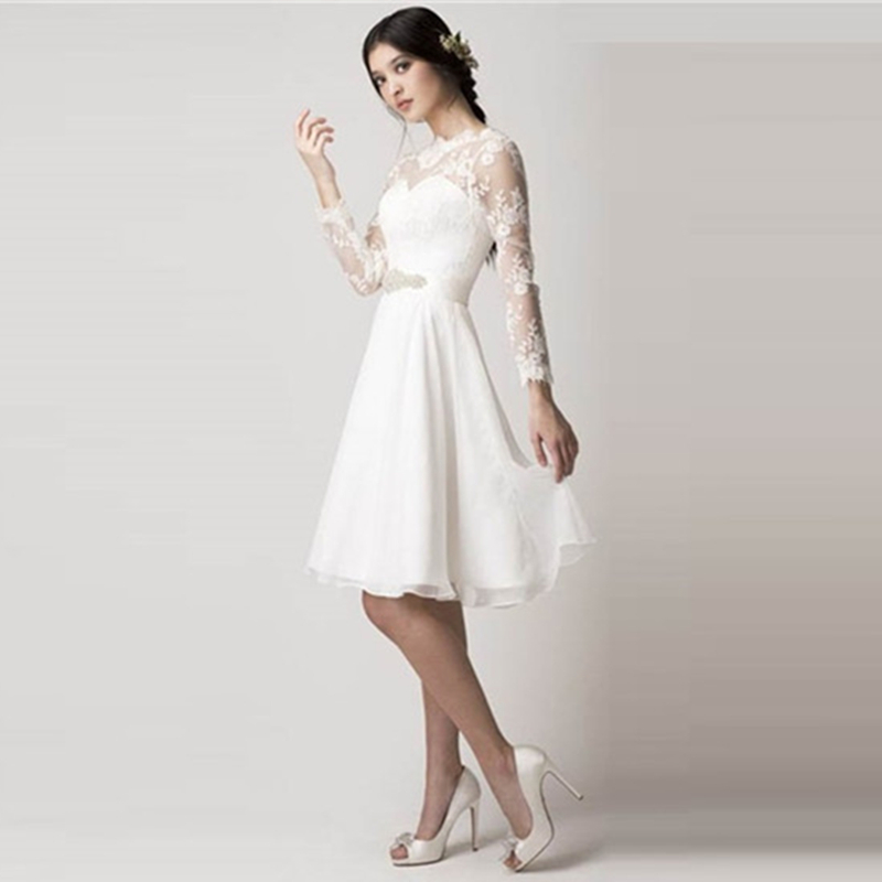 verano estilo vintage de encaje casamento drapeado de manga larga