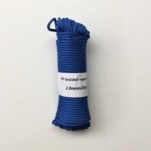 Blå 2,8mmx20m flätad Polypropylen rep PP häng tagg kläder linje heminredning trädgård tillbehör utomhus camping rep