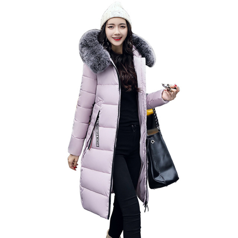 2017 Winter Faux Fur Collar Hooded Jacket Women Cotton Wadded Overcoat Long Slim Casual Parkas Pink Plus Size 4XL Coats RE0084 high grade big fur collar down cotton winter jacket women hooded coats slim mrs parkas thick long overcoat 2017 casual jackets