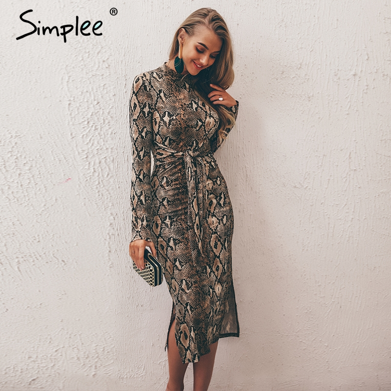 Simplee Sexy leopard print women long dresss  Autumn long sleeve sashes bodycon stretch dresses Elegant party female vesitidos