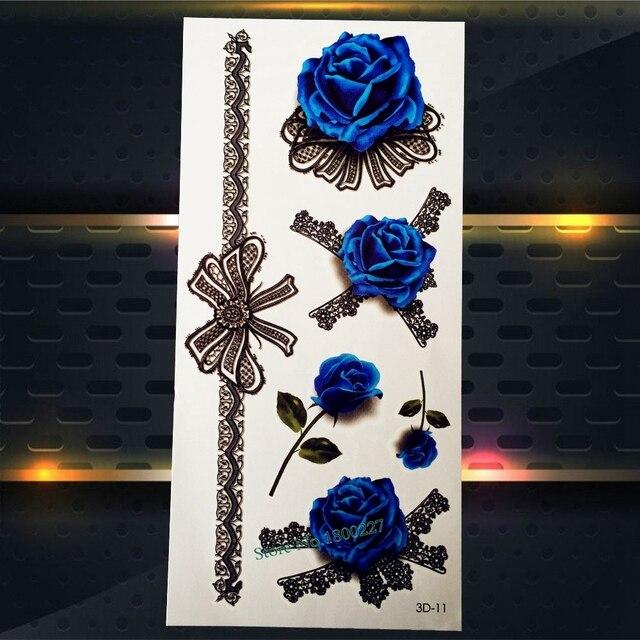 1 Pc Henna Encaje Bowknot Diseños Flash Tatuaje Temporal Rosas