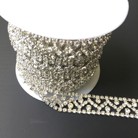 5Yards Silver Gold Rhinestone Trims Diamond Bling Bling Crystals Appliques For Wedding Belt Sash