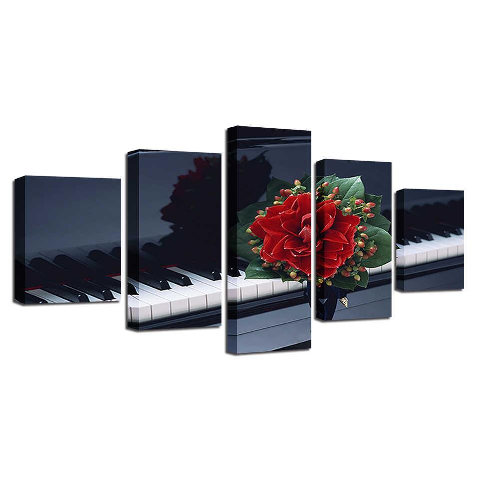 Печатный плакат Настенная картина в рамке HD украшение дома Холст 5 панель цветы фортепиано Гостиная Модульная картина куадро