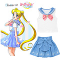 2016 New Lolita Cosplay Sailor Moon Skirts Kawaii Sailor Girl Skirts Sailor Moon 20th Anniversary Skirt Girls School Uniform