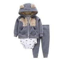 2018 New Arrival 3pcs Cotton Baby Boy Girl Cardigan Set Baby Clothes Suit Of Coat Bodysuit
