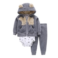 2019 New Arrival 3pcs Cotton Baby Boy Girl Cardigan Set Baby Clothes Suit of Coat Bodysuit and Pants Clothing Set