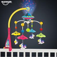 Huanger Musical Crib Mobile Bed Bell Baby Rattle Rotating Bracket Projecting Toys For 0 12 Months