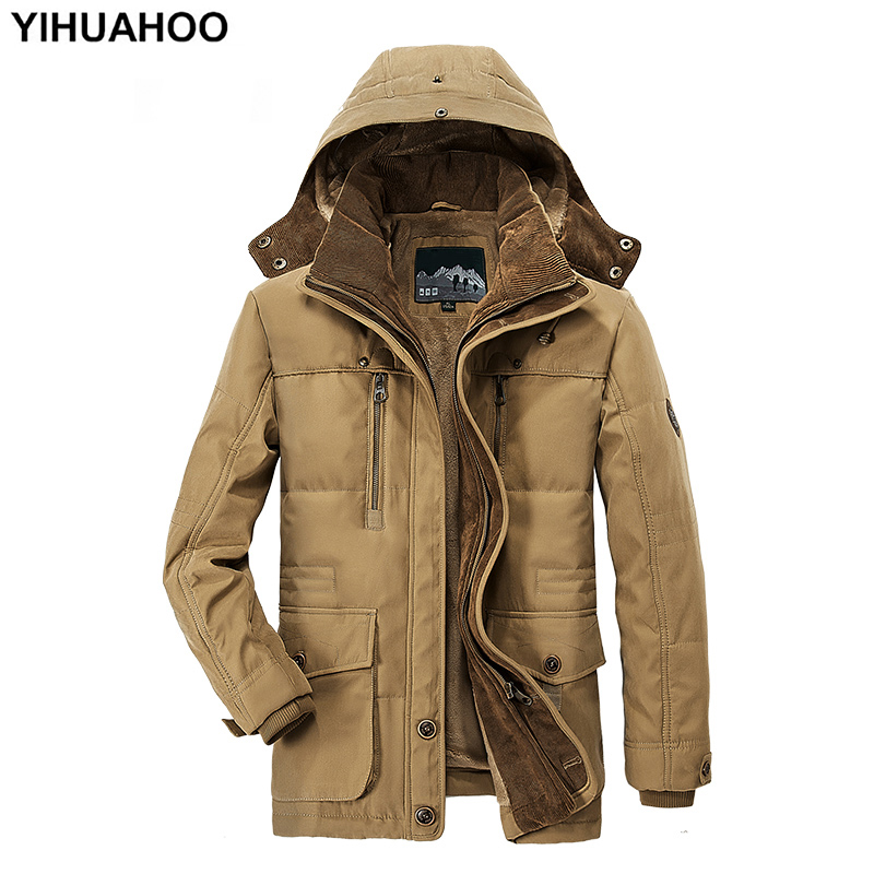 YIHUAHOO Winter Jacket Men 5XL 6XL Thick Hooded Cotton Fleece Jacket Coat Male Casual Warm   Parka   Windbreaker Jacket Men PLD13029