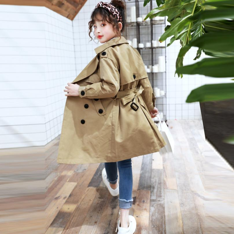 Girls Windbreaker Jackets 2019 Autumn New Children Cotton Trench Coat Double-breasted Casual Outerwear Modis Kids Trench Y1650