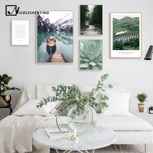 Scandinavian Boat Lake Canvas Poster Nature Nordic Style Landscape Wall Art Print Painting Decorative Picture Living Room Decor(China)