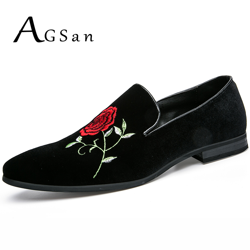 AGSan flowers embroidered loafers men handmde velvet shoes black wedding party shoes smoking shoes designer mens oxfords flats