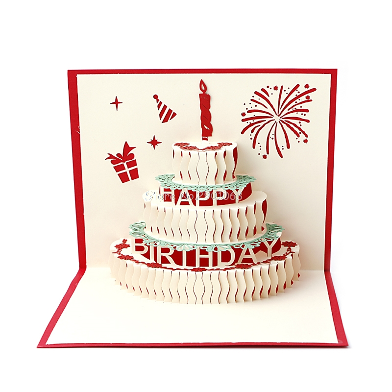 3D Pop Up Paper Laser Cut Greeting Cards Creative Handmade Cake Birthday Postcards for Lover Thank