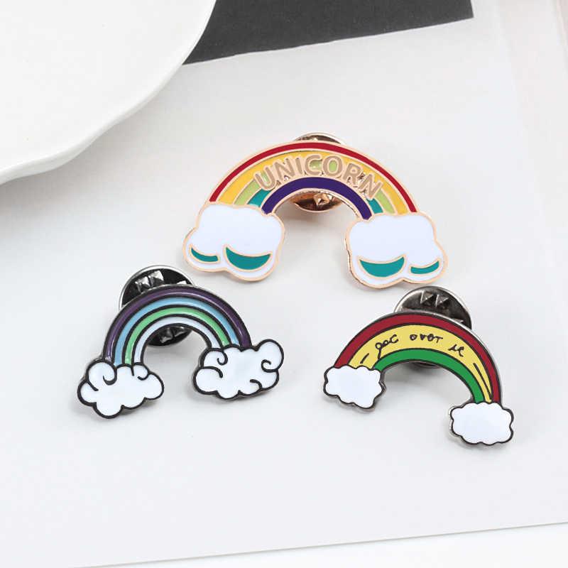 Rainbow Enamel Awan Petir Bintang Matahari Bulan Bros Koleksi Wanita Fashion Lapel Pin Lencana Anak-anak Kemeja Perhiasan