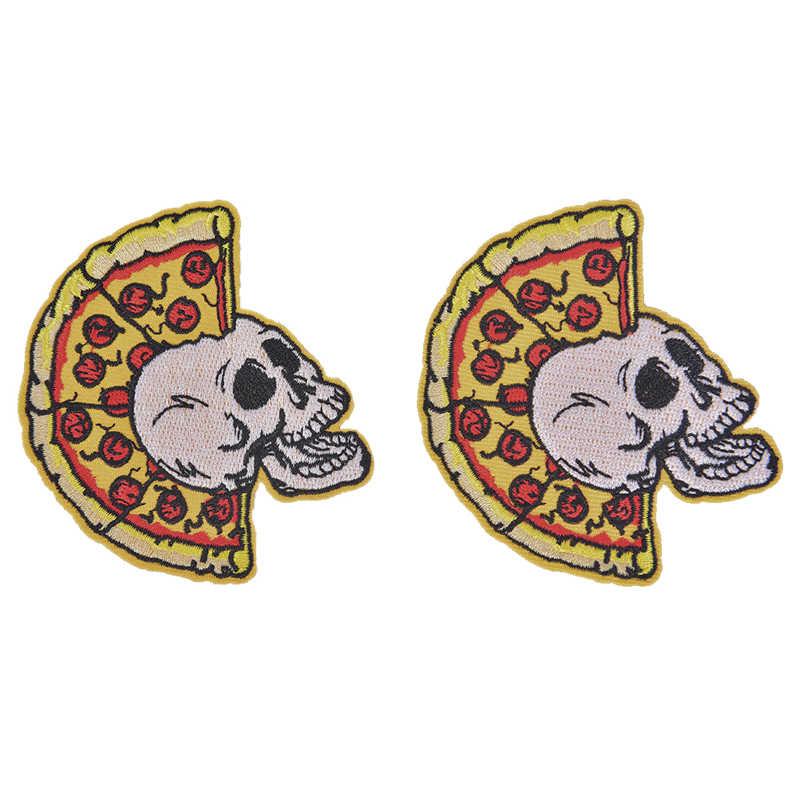 Панк пицца Череп байкер патч крепится на вышитые классные патч наклейки для одежды шитье аппликация для обуви рюкзак куртки значки