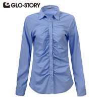 GLO STORY Women Blouse 2016 New Arrive Lady Long Sleeve Formal Shirts Women Tops Plus Size