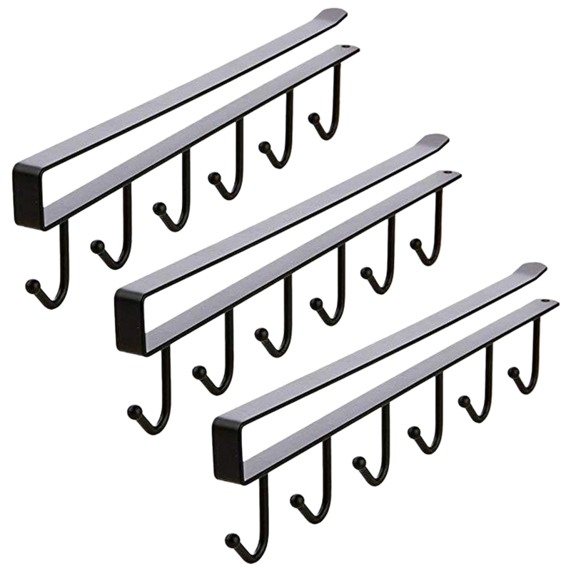 Multi-Function 3Pcs X 6 Hooks Mug Holder Under Cabinet Coffee Cup Hanger For Kitchen, Armoire And Any Thickness Of 0.8 Inch Or