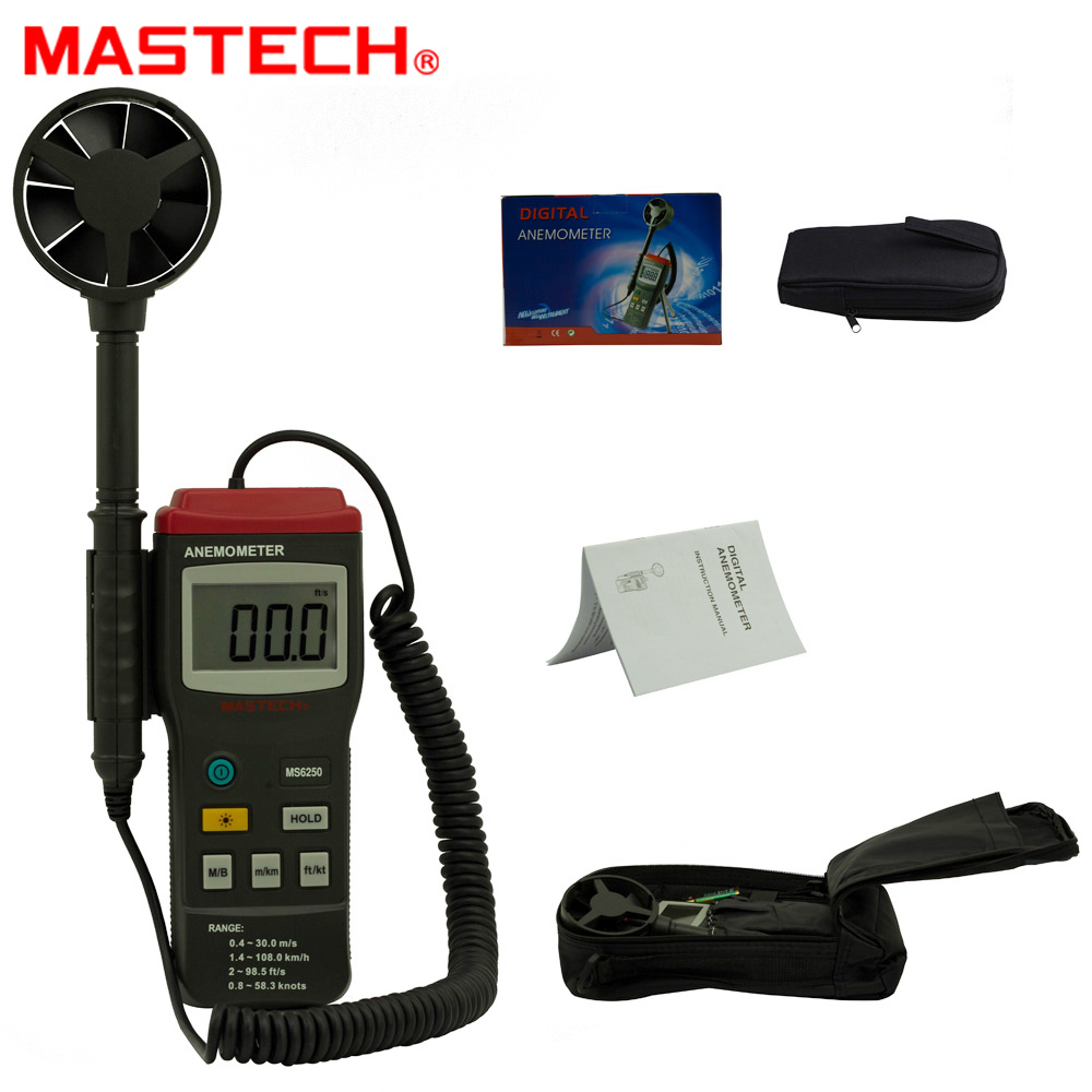 MASTECH MS6250 Digital Anemometer Wind Speed Tester Meter 0.4~30m/s With large LCD and back light Data Hold free shipping gm8901 45m s 88mph lcd digital hand held wind speed gauge meter measure anemometer thermometer