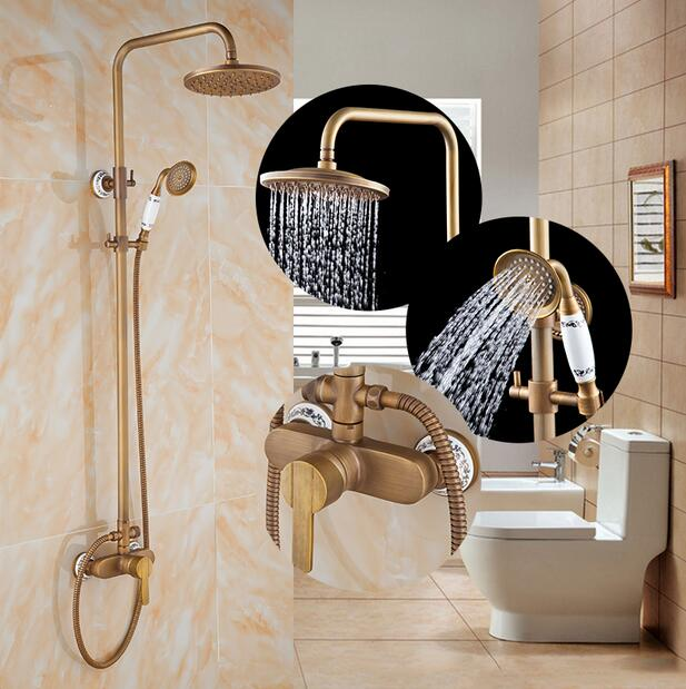 Luxury Bathroom Brass Antique Shower Faucet Set Single Handle Wall Mount Exposed Rainfall Shower Mixer Tap antique 8 brass rainfall shower faucet set with handheld shower wall mount single handle mixer taps