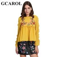 GCAROL Neue Ankunft Gestickte Blumen Frauen Bluse Blütenblatt Sleeve Plissee Tops Puppe Süße Smock Vintage Shirt 3 Farben