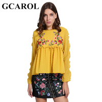 GCAROL New Arrival Embroidered Floral Women Blouse Petal Sleeve Pleated Tops Doll Sweet Smock Vintage Shirt