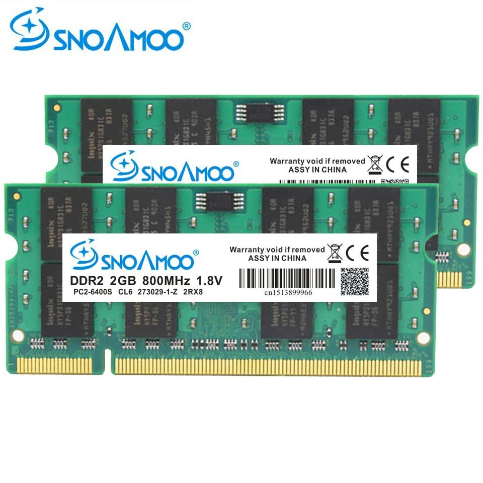 SNOAMOO Laptop RAMs DDR2 2GB 667MHz PC2-5300S 800MHz PC2-6400S 200Pin DDR2 1GB 2GB 4GB DIMM Notebook Memory Lifetime Warranty