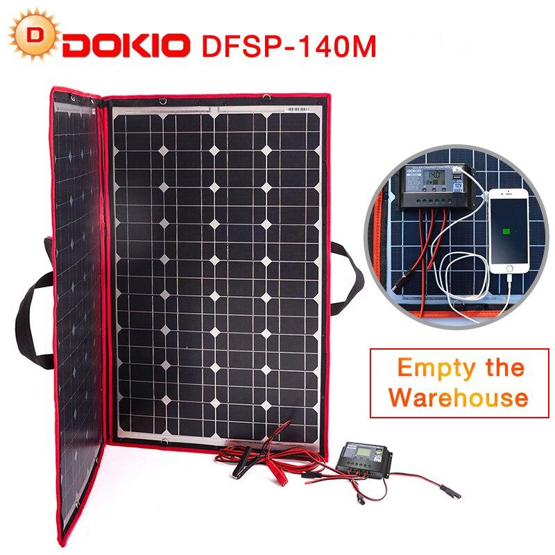 Dokio 100 w 140 w (70 w x 2 pcs) 18 v Flexible Pliable Solaire Panneaux Chine + 12/24 v Volt Contrôleur 140 Watt Panneaux Solaire De Voiture/ camping