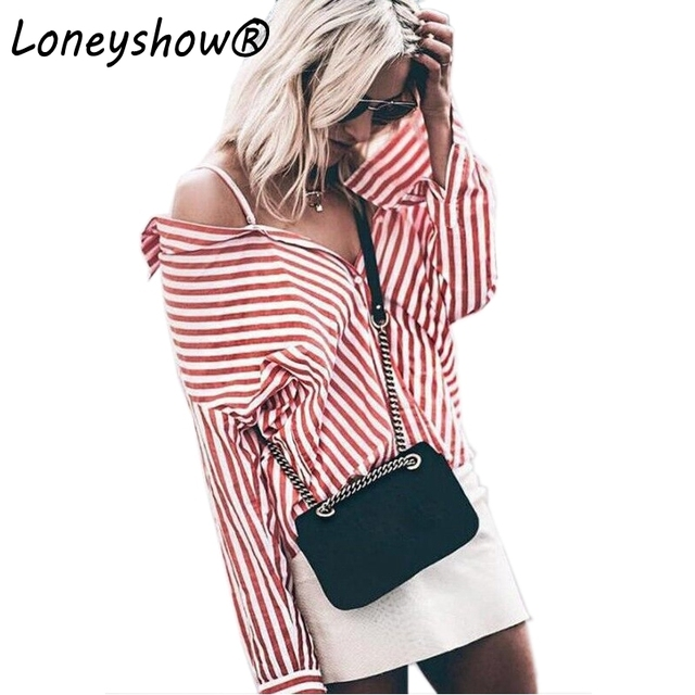 25286c3d310 New Red And White Striped Blouses Female Women Button Down Long Sleeve Shirt  Tops Feminine 2017 Autumn Winter Vintage Clothes