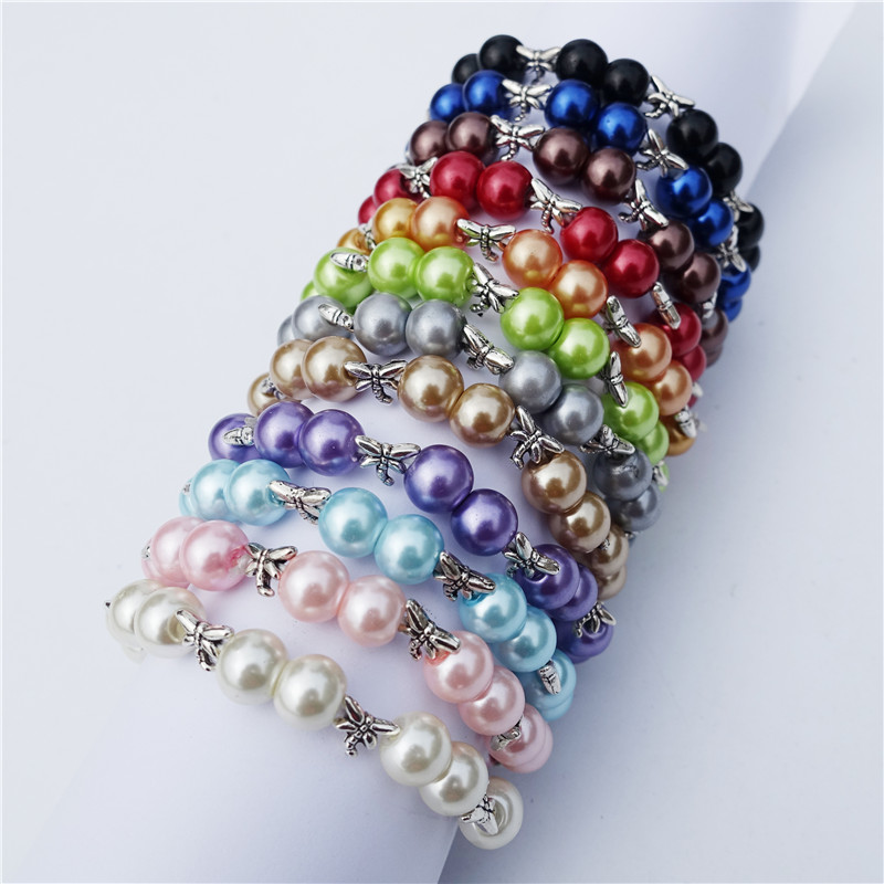 Dragonfly Pearl Beads Handmade Stretchy Bracelet 15cm Length Girls Boys Kids Jewelry