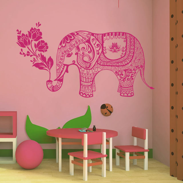 Wall Decals Animals Elephant Flowers Indian Baby Room Nursery Home ...