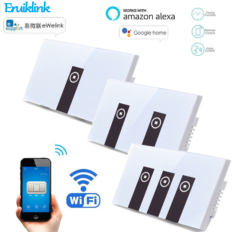eWelink APP Wifi Switch for Smart Home US 1/2/ 3 Gang Wall Light Wireless Switch Remote Control Via Works With Alexa Google Home sonoff t1 us smart touch wall switch 1 2 3 gang wifi 315 rf app remote smart home works with amazon free ios and app ewelink