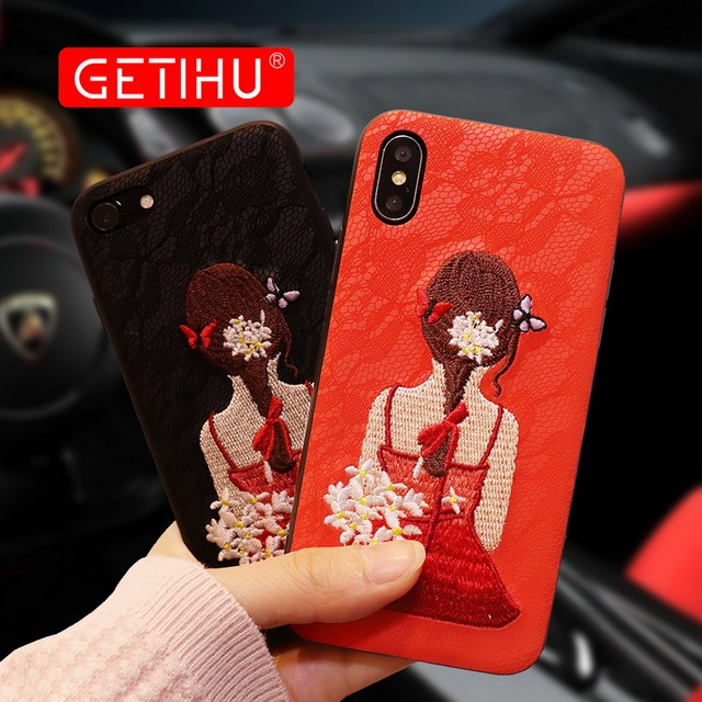 GETIHU Protection Case For iphone 7 8 Plus Case 360 Luxury Embroider Mobile Phone Case Cover Capa Coque For iPhone 7 plus 8 Case