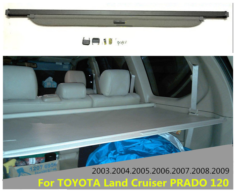 Car Rear Trunk Security Shield Cargo Cover For TOYOTA Land Cruiser PRADO 120 2003.04.05.06.07.08.2009 High Qualit Accessories car rear trunk security shield cargo cover for honda fit jazz 2008 09 10 11 2012 2013 high qualit black beige auto accessories