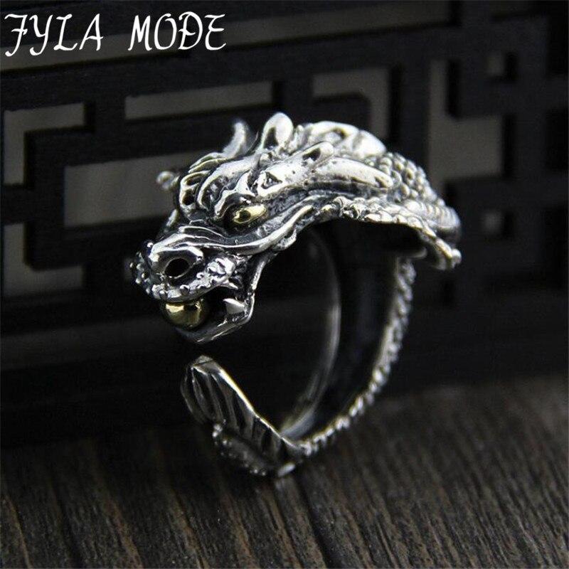 FYLA MODE 100% bijoux en argent Sterling tête de Dragon anneaux pour hommes Punk Rock Style rouge pierre anneaux bijoux de fête 24.60mm 19.20G