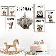 Elephant Panda Zebra Raccoon Giraffe Nursery Wall Art Canvas Painting Nordic Posters & Prints Pictures Baby Kids Room Decor