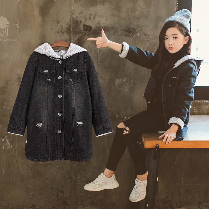 Faux Suede Girls Denim Long Jacket with Hood Warm Thicken Big Girls Jean Coat Children's Winter Fall Clothes
