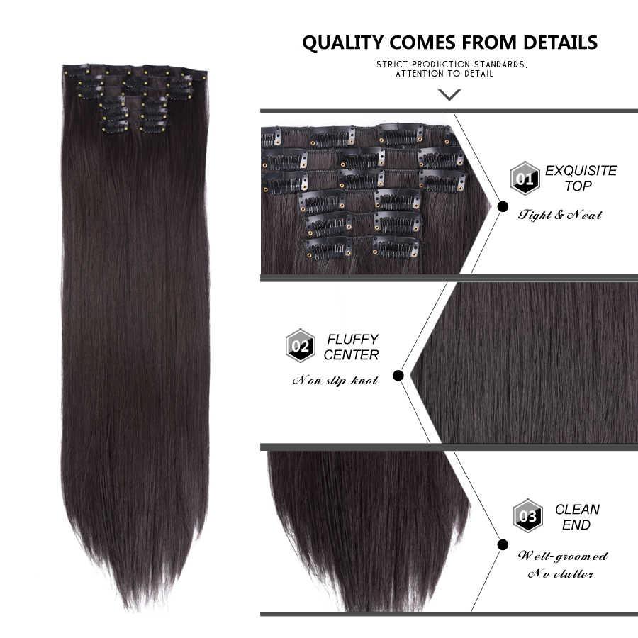 Leeons 16 ألوان 16 مقاطع طويلة مستقيم وصلات شعر اصطناعية مقاطع في درجة حرارة عالية الألياف أسود براون هيربيسي