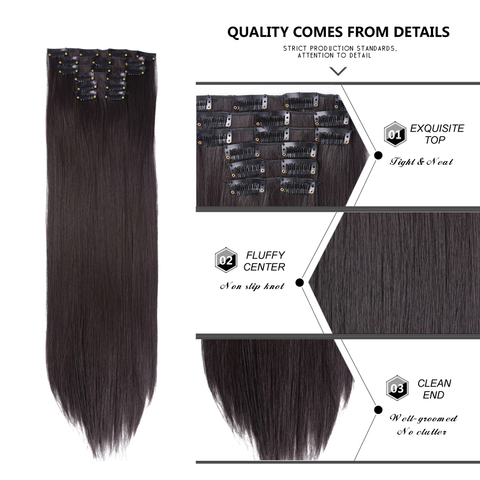 Leeons 16 colors 16 clips Long Straight Synthetic Hair Extensions Clips in High Temperature Fiber Black Brown Hairpiece Karachi