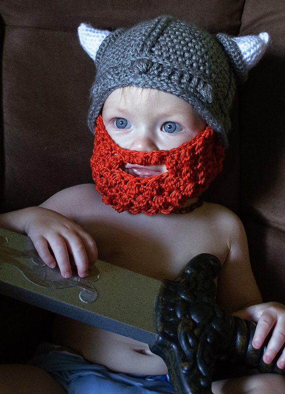 Crochet Childrens Cartoon Vikings Horn Hat With Bearded Face Mask