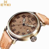 EYKI Men Army Waterproof Vintage Watch Male Brand Luxury Leather Calendar Quartz Wristwatch Unique Week Clock