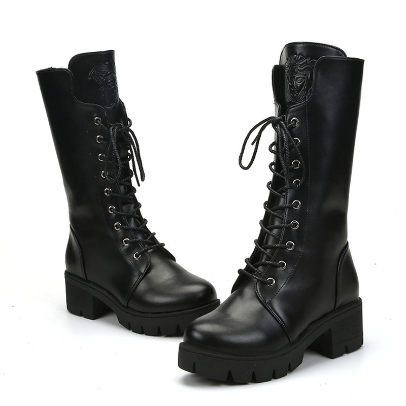 Women 39 s boots 2019 autumn and winter new fashion wild in the tube round head non slip thick with lace Martin boots women in Mid Calf Boots from Shoes