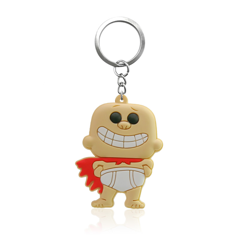 1pcs Captain Underpants Key Chain Key Ring Action Figure Keychain Fashion Key Holder Kids Birthday Gift Xmas Party Favor