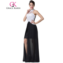 Grace Karin Backless Short Front Long Back Sexy Long Celebrity Dresses 2018 Halter Sequins Evening Gowns Vestido De Festa Black