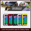 Amor MEI para Samsung Galaxy Alpha G850F Original poderosa à prova de choque Dirtproof impermeável caso de telefone de Metal com Gorilla glass