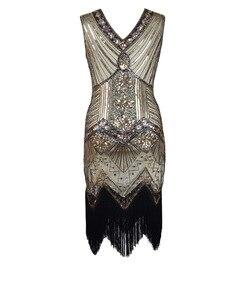 Image 5 - 女性パーティードレスローブフェムセクシー 1920s グレートギャツビーフラッパースパンコールフリンジミディドレス Vestido 夏アートデコレトロ女性パーティードレス