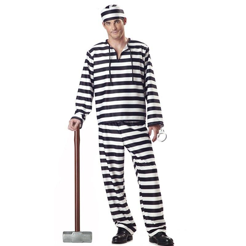Mens Prisoner Costume Adult Halloween Costume for Men