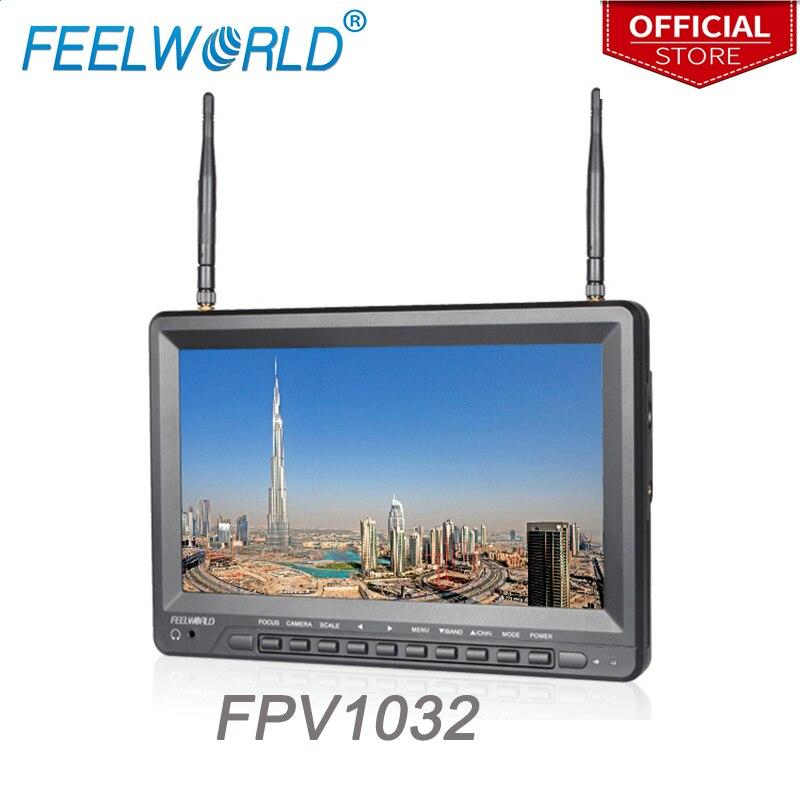Feelworld FPV1032 10.1 pollice IPS FPV Monitor con Built-In Batteria Dual 5.8g 32CH Diversità Ricevitore 1024x600 Senza Fili monitor