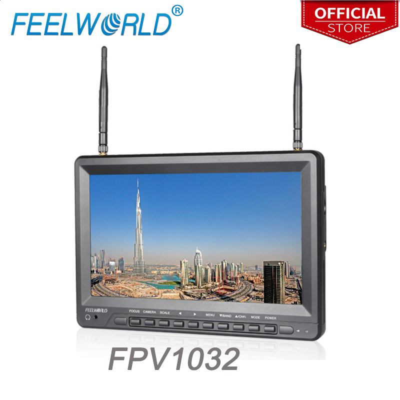 Feelworld FPV1032 10,1 zoll IPS FPV Monitor mit Eingebaute Batterie Dual 5,8g 32CH Diversity Empfänger 1024x600 Wireless monitore
