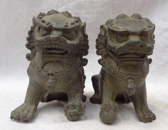 Scy Jp S0610 Chinese Bronze Animals Wealth Fengshui Foo Fu Dog Door